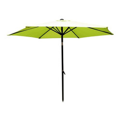 International Caravan - 8 Foot Aluminum Patio Umbrella with Tilt and Crank - Bring a spirited look to your outdoor living area with this colorful generously sized umbrella, a perfect addition to any sunny deck, garden or patio. It has a rust resistant aluminum pole with a crank and tilt mechanism for easy operation and is available in your choice of colors. Includes a durable rust free aluminum pole. Base not included. Pictured in Lime Green. 6 Steel Ribs. Crank and tilt mechanism. Polyester fabric cover. Complete weather proof protection against harsh weather and UV Light Fading. 8.2 ft. dia. x 8 ft. H