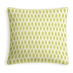 Green & Gray Ikat Dot Micro Corded Pillow - Every decorator knows: it's the details that make a room.  That's why we love the Microcord Throw Pillow with a thin piped edge that adds just a hint of color.  We love it in this ikat dot in lime green & gray on the softest white cotton sateen. as cute as it is contemporary.