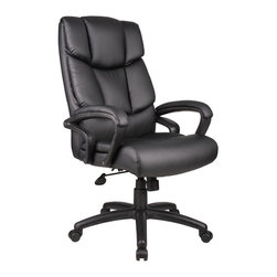 BOSS Chair - Executive Padded Armchair In Black w Multiple - Choose Option: w/o Knee TiltExtra thick cushions, soft leather upholstery, an ergonomic design that is both beautiful and durable -when it comes to keeping you comfortable, this executive arm chair means business. Cascading LeatherPlus upholstery creates a stunning visual effect, while providing optimum lumbar and knee support. Adjustable positions and upholstered arm rests enhance your comfort. No tools required for assembly. Beautifully upholstered with LeatherPlus. Softness and durability. Waterfall seat design eliminates leg fatigue. Ergonomic back design with lumbar support. Upright locking position. Adjustable tilt tension. Pneumatic gas lift seat height adjustment. Optional knee-tilt mechanism available model (B8702). Assembly required. Cushion color: Black. Base/wood: Black. Seat size: 21 in. W x 19.5 in. D. Seat height: 20 in. -23.5 in. H. Arm height: 27 in. -30.5 in. H. Overall dimension: 27 in. W x 28 in. D x 45-48.5 in. H. Weight capacity: 250 lbs