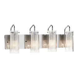 """Elan - Contemporary Elan Krysalis 27"""" Wide Chrome Bathroom Light - This sleek and seductive modern 4-light vanity fixture is a great look for a sophisticated space. Four clear glass cylinders are held aloft by slender chrome finish arms attached to a wide rectangle wall plate. Inside each cylinder is a white metal filigree draped in front of a light diffused with white glass. Ideal as a bathroom light as well. A beautiful modern design from Elan. Elegant 4-light vanity fixture. Sleek chrome finish metal. Clear and white textured glass. Draped white metal filigree accent. Four max 60 watt bulbs (not included). 27"""" wide. 9 1/2"""" high. Extends 5 1/4"""".  Elegant 4-light vanity fixture.  Sleek chrome finish metal.  Clear and white textured glass.  Draped white metal filigree accent.  Four max 60 watt bulbs (not included).  Dimmable.  27"""" wide.  9 1/2"""" high.  Extends 5 1/4""""."""