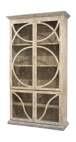 Kathy Kuo Home - French Country Taupe Oak Reclaimed Wood Cabinet Vitrine - This rustic showcase cabinet looks as perfect in a French farmhouse as it would in an industrial modern loft. Its hand-rubbed taupe finish highlights the vintage beauty of the reclaimed wood while the curved design on the doors adds an unexpected elegance. This vitrine provides ample space, and a spectacular backdrop, for your colorful treasures to be proudly displayed.