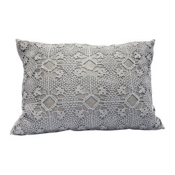 "Area Inc. - Violet Ash Decorative Pillow 16X21"" - Area Inc. - Achieve a delicate, pretty look in your bedroom or living room using the Violet Ash Decorative Pillow. This pure linen pillow features an intricate, hand-crocheted pattern in soft gray. Includes a feather down insert. Display it individually or pair it with the Violet Ivory pillow for a chic, cohesive feel."