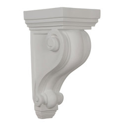 "Ekena Millwork - 6""W x 7""D x 13 1/4""H Devon Corbel - 6""W x 7""D x 13 1/4""H Devon Corbel. These corbels are truly unique in design and function. Primarily used in decorative applications urethane corbels can make a dramatic difference in kitchens, bathrooms, entryways, fireplace surrounds, and more. This material is also perfect for exterior applications. It will not rot or crack, and is impervious to insect manifestations. It comes to you factory primed and ready for your paint, faux finish, gel stain, marbleizing and more. With these corbels, you are only limited by your imagination."
