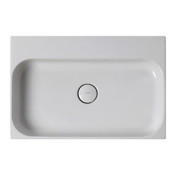 "WS Bath Collections - Unit 23.6"" x 16.5"" Ceramic Bathroom Sink - Unit by WS Bath Collections, Ceramic White Wall-Mounted or Countertop Bathroom Sinks, Available With or Without Faucet Hole, Made in Italy"