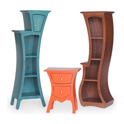 Three Dust Furniture Pieces - Three Dust Furniture pieces, Cabinet No.4 in Turquoise Stain, Table No.8 in Desert Red, and Bookcase No.5 in Caramel Stain.  Dust Furniture is made in the USA and designed by Vincent Leman.