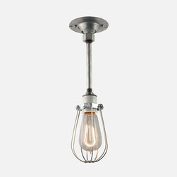 Azusa with Cage Pendant Light Fixture - Caged light fixtures give so much character to a small space. I love the look of this one for a log cabin.