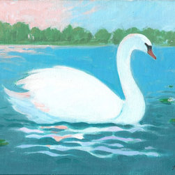 """Swan"" Artwork - Swan on a serene lake with evening sky."