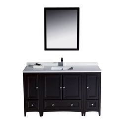 "Fresca - Oxford 54"" Espresso Traditional Vanity w/ 2 Side Cabinets Diveria Chrome Faucet - Blending clean lines with classic wood, the Fresca Oxford Traditional Bathroom Vanity is a must-have for modern and traditional bathrooms alike.  The vanity frame itself features solid wood in a stunning espresso finish that?s sure to stand out in any bathroom and match all interiors.   Available in many different finishes and configurations."