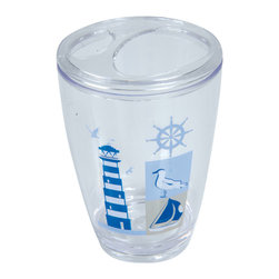 Printed Acrylic Toothbrush Holder Key West Blue - This printed toothbrush holder Key West for bathrooms is in clear acrylic with maritime patterns. This toothbrush holder is a lovely accent for any bathroom and its shape is flared upward with a diameter of 2.95-Inch and a height of 4.52-Inch and has four slots for toothbrushes and toothpaste. Wipe clean with a damp cloth. Color blue. Accessorize your bathroom countertop in a trendy style with this charming toothbrush holder! Complete your Key West decoration with other products of the same collection. Imported.