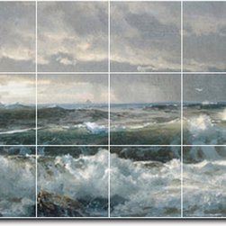 Picture-Tiles, LLC - Surf On Rocks Tile Mural By William Richards - * MURAL SIZE: 24x48 inch tile mural using (18) 8x8 ceramic tiles-satin finish.