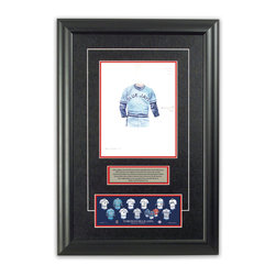 """Heritage Sports Art - Original art of the MLB 1981 Toronto Blue Jays uniform - This beautifully framed piece features an original piece of watercolor artwork glass-framed in an attractive two inch wide black resin frame with a double mat. The outer dimensions of the framed piece are approximately 17"""" wide x 24.5"""" high, although the exact size will vary according to the size of the original piece of art. At the core of the framed piece is the actual piece of original artwork as painted by the artist on textured 100% rag, water-marked watercolor paper. In many cases the original artwork has handwritten notes in pencil from the artist. Simply put, this is beautiful, one-of-a-kind artwork. The outer mat is a rich textured black acid-free mat with a decorative inset white v-groove, while the inner mat is a complimentary colored acid-free mat reflecting one of the team's primary colors. The image of this framed piece shows the mat color that we use (Red). Beneath the artwork is a silver plate with black text describing the original artwork. The text for this piece will read: This original, one-of-a-kind watercolor painting of the 1981 Toronto Blue Jays uniform is the original artwork that was used in the creation of this Toronto Blue Jays uniform evolution print and tens of thousands of other Toronto Blue Jays products that have been sold across North America. This original piece of art was painted by artist Bill Band for Maple Leaf Productions Ltd. Beneath the silver plate is a 3"""" x 9"""" reproduction of a well known, best-selling print that celebrates the history of the team. The print beautifully illustrates the chronological evolution of the team's uniform and shows you how the original art was used in the creation of this print. If you look closely, you will see that the print features the actual artwork being offered for sale. The piece is framed with an extremely high quality framing glass. We have used this glass style for many years with excellent results. We packag"""