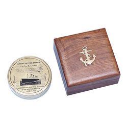 """Handcrafted Model Ships - Titanic Compass 4"""" - Brass Pocket Compass - The commemorative RMS Titanic Brass Compass is truly a great gift to any nautical enthusiast in your life. This 4-inch in diameter compass features a solid brass body and face with a gorgeous finish. Inside the top lid shows an etched image of the famous shipwreck with a few sentences commemorating the sinking of the RMS Titanic. This compass also has a sundial compass heading and is a great instrument for any nautical explorer. The compass rose is graduated in degrees and has a standard surveyor's 0 - 90 degree scale from North and South."""