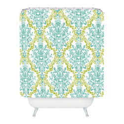 DENY Designs - Rebekah Ginda Design Lovely Damask Shower Curtain - Who says bathrooms can't be fun? To get the most bang for your buck, start with an artistic, inventive shower curtain. We've got endless options that will really make your bathroom pop. Heck, your guests may start spending a little extra time in there because of it!