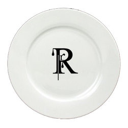 Caroline's Treasures - Letter R Initial Monogram Modern Ceramic White Dinner Plate CJ1056-R-DPW-11 - Letter R Initial Monogram Modern Ceramic White Dinner Plate CJ1056-R-DPW-11 Heavy Round Ceramic Plate White with Artwork . 11 inches in diameter. LEAD FREE, dishwasher and microwave safe. The plate has been refired over 1600 degrees and the artwork will not fade or crack.