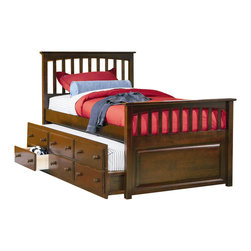 Atlantic Furniture - Atlantic Furniture Mate's Storage Bed with 3 Drawer Trundle in Antique Walnut-Fu - Atlantic Furniture - Beds - AP8336034 - This transitional styled mate's bed is available in full or twin sizes and is ideal for teens of both genders. With its mission design head and footboards antique walnut finish and a three drawer trundle this bed is time-tested style and function all in one.