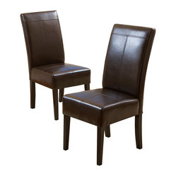 Stella Brown Leather Dining Chair, Set of 2