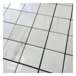 Stone & Co - Bianco Dolomiti Marble Dolomite 2x2 Polished Marble Mosaic - Finish: Polished