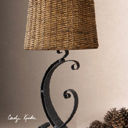 Rendall Hammered Metal Table Lamp with Twisted Rattan Shade - This a harmonious mix of the classic design with scrolls, a rustic style and a modern idea. Hammered metal body is finished in a rustic black with light rust glaze. The round semi drum shade is hand woven, twisted rattan finished in a heavy antiqued stain. Designer: Carolyn Kinder.