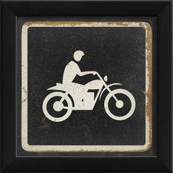 The Artwork Factory - Dirt Biking Sign Framed Artwork - Ready-to-Hang, 100% Made in the USA, museum quality framed artwork
