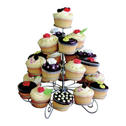 KitchenWorthy - KitchenWorthy 4-tier Designer Metal Cupcake/ Muffin Stand - Display delicious cupcakes or muffins at your next event with this charming KitchenWorthy four-tier metal stand. Perfect for weddings, birthday parties and other events, this silver wire stand is easy to assemble and folds down for space-saving storage.
