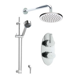"Hudson Reed - Twin Concealed Thermostatic Shower, Round Head, Rail Kit & Handset - An attractive oval chrome face plate and minimalist controls ensure that the Arina Twin Concealed Thermostatic Shower Valve, with Built-In Diverter, complements any modern bathroom or shower room.  Constructed from brass, with modern ceramic disc technology, oval handles with slim levers give you finger tip control of the temperature and flow of water to either the round fixed shower head or slide rail kit.Safety comes as standard with a pre-set maximum temperature and an anti-scald device.Hudson Reed Arina Twin Concealed Thermostatic Shower Faucet Valve Details:  Dimensions (H x W): 8½ x 4 Durable, dependable and with the luxury of a solid brass shower valve  Brass handles and face plate Chrome finish Ceramic Disc Technology  Pre-set maximum temperature (104ºf) Automatic anti scald device Suitable for water systems between 2 - 75 psi pressure ½ NPT Inlets and Outlets Compatible with standard US plumbing connections Suitable for combi boilers, gravity fed systems, unvented mains pressure systems and for shower pumps Please note: This valve can supply only one outlet at a time  Hudson Reed Chrome Cloudburst Fixed Head Details  Dimensions: Height: 6.4 , Depth: 19.9 shower head  (Brass) shower arm  (Brass) chrome finish  Hudson Reed Chrome Curved Slide Rail Shower Kit Details  Dimensions: 22.3""(H) x 4.3""(W) Projection from wall (rail): 2.8"" Sleek, square design gives a superb stylish appearance"