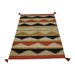 Colorful 3x5 Navajo Style Rug Hand Woven 100% Wool Reversible Flat Weave SH16771 - Soumaks & Kilims are prominent Flat Woven Rugs.  Flat Woven Rugs are made by weaving wool onto a foundation of cotton warps on the loom.  The unique trait about these thin rugs is that they're reversible.  Pillows and Blankets can be made from Soumas & Kilims.