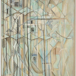 """Original Abstract Painting by bangbouh - The art of Ohio native Robert Bangbouh struck me for its architectural aesthetic. I love the linear quality to his pieces, and I love how he segments color with his lines. Although varying in tones, his works offer an """"organized"""" approach to abstract art."""