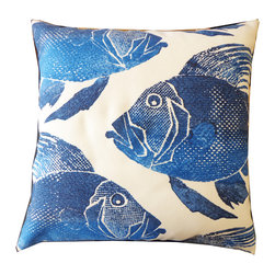 Poisson Pillow - With a stamped fish pattern, our Square Poisson Pillow shows off the intricacies of marine life's unique scales, fins, and tails. Available in Blue or Orange on a neutral white background. Also available in lumbar size.