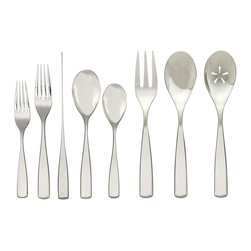 Nambe - Nambe Anna 43-Piece Flatware Set, Service for 8 - Our Anna flatware set is long and lean, with a graceful taper that separates the upper and lower parts of each piece of cutlery. Like a line of ballet dancers, the tines of each fork sweep upwards in comely formations. Flower-shaped cut-outs adorn the larger serving pieces. Ideal for an elegant home, or as an impeccable wedding gift.
