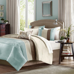 Home Essence - Home Essence Belleview 5 Piece Comforter Set - A modern twist to a classic color block bed. Belleview is made from a faux silk texture with pleating details to give it an update to a classic look. Features colors of sky blue, tan and brown. Comf and sham face: polyoni pintuck; back: micro fiber; Filling: 100% polyester 270gsm; shirt: polyoni.