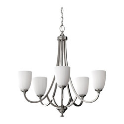 """Murray Feiss - Murray Feiss F2584/5BS Chandelier - Brushed Steel - Material: Steel. White Opal Etched Glass Shade. Number of Bulbs: 5. Bulb Base: Medium (E26). Bulb Type: Incandescent. Bulb Included: No. Watts Per Bulb: 100. Wattage: 500. Voltage: 120. Height: 26.5"""". Diameter: 26"""". Canopy Diameter: 5.5"""". Backplate Diameter: 5.5"""". Chain Length: 60"""". Wire Length: 180"""". Energy Star: No. UL Listed: Yes. UL Rating: Dry Location."""