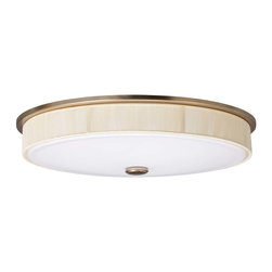 Kichler 2-Light Ceiling Light - Champagne - Two Light Ceiling Light A unique champagne finish accentuates the visual texture of the beige string trim ring set against a matte white acrylic diffuser shade on this energy efficient lighting flush mount ceiling light from the Santiago collection.