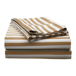 600 Thread Count Queen Sheet Set Cotton Rich Cabana Stripe - Taupe - Send yourself on a tropical vacation every night with this Cabana Inspired sheet set from Impressions. This design features stripes of white and the sets specified color and is made with a superior blend of materials that makes these sheets soft, easy to care for and wrinkle resistant.