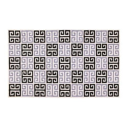 Black and Grey Greek Key Rug - Far beyond baby pink, this black and lavender is a stunning color scheme for a teenage girl's room.