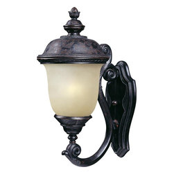 Maxim - Maxim Carriage House EE One Light Oriental Bronze Mocha Glass Wall Lantern - This One Light Wall Lantern is part of the Carriage House Ee Collection and has an Oriental Bronze Finish and Mocha Glass. It is Outdoor Capable, Wet Rated, and Energy Star Compliant.