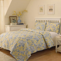 Waverly - Waverly Picture Perfect 3 Piece Quilt Set Multicolor - 12714BEDDKNGBLB - Shop for Bedding Sets from Hayneedle.com! Freshen up your bedroom simply by adding the Waverly Picture Perfect 3 Piece Quilt Set. This set uses sunny yellow and classic blue-and-white flowers to create the look. A double-stitched detail adds the finishing touch. The set includes a quilted coverlet and two pillow shams. All pieces are machine washable and may be tumbled dry on low.Quilt Dimensions:Queen: 90L x 90W in.King: 90L x 106W in.About Ellery HomestylesOffering curtains bedding throws and specialty products Ellery Homestyles is a leading supplier of branded and private-label home-fashion products. Their products deliver innovation in fashion function and design and include names like Eclipse Curtainfresh SoundAsleep ComfortTech Vue and Waverly. Their 357 000 square foot facility in Lumber Bridge North Carolina includes a high-speed pillow filling operation with a capacity of approximately 40 000 pillows a week.