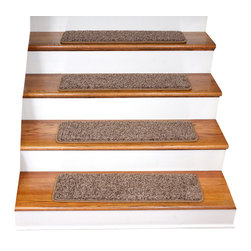 "Dean Flooring Company - Dean Tape Free Non-Slip Pet Friendly DIY Carpet Stair Treads, Brown - Quality, Stylish Ultra Premium Stair Gripper Non-Slip Carpet Stair Treads by Dean Flooring Company. Extend the life of your high traffic hardwood stairs. Reduce slips/increase traction. Cut down on track-in dirt. Great for pets and pet owners. Made in the USA from quality, long lasting stain resistant 40 oz. plush soft carpeting with non-slip padded foam backing. Stands up great to high traffic. A fresh new look for your staircase. Do-it-yourself installation is quick and easy with our unique non-slip backing. Simply place your stair tread rugs on your staircase and go. No tapes, adhesives, staples, glue, or Velcro needed. And rest assured, they won't move and they won't damage your hardwood either. They are also simple and easy to remove as well with no sticky residue left behind. Each tread is finished on all four sides with attractive color matching binding tape. No bulky fastening strips. You may remove your treads for cleaning and re-attach them when you are done. Set includes 15 pieces. Each tread measures approximately 30"" x 9"". Add a touch of warmth and style to your stairs today with new stair treads from Dean Flooring Company! We make our own stair treads at Dean Flooring Company and our products are not available from anyone else."