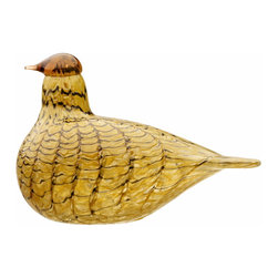 """Iittala - Toikka Summer Grouse 7"""" x 4.75"""" - When something is this wonderful, Australians say """"That's grouse, mate!"""" This is only fitting when you see the delicate, teardrop shape and orange and yellow plumage of this handmade Summer Grouse. It's a real find, as the first of your collection or the last."""