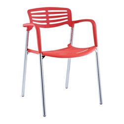 Fleet Stacking Chair - Bring versatility to your meetings and events with a sturdy chair that fits all occasions. The Fleet stacking chair is made of stainless steel with a fashionable hard plastic seat and arm covering. The design is sleek and compact while providing the seating room necessary to accommodate your guests comfortably. Fleet stacks for easy storage.