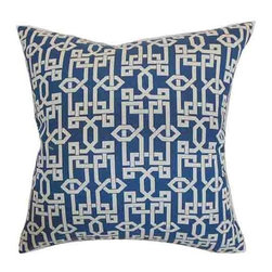 The Pillow Collection - Cananea Blue 18 x 18 Geometric Throw Pillow - - Pillows have hidden zippers for easy removal and cleaning  - Reversible pillow with same fabric on both sides  - Comes standard with a 5/95 feather blend pillow insert  - All four sides have a clean knife-edge finish  - Pillow insert is 19 x 19 to ensure a tight and generous fit  - Cover and insert made in the USA  - Spot clean and Dry cleaning recommended  - Fill Material: 5/95 down feather blend The Pillow Collection - P18-D-32509-BLUEBERRY-C100