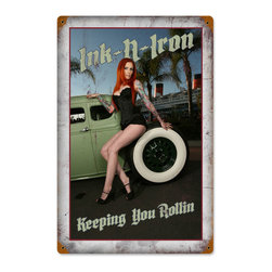 Ink and Iron Keeping Rolling Metal Sign Wall Decor 12 x 18 - Ink and Iron Keeping Rolling Metal Sign Wall Decor From the Ink and Iron licensed collection, this Ink and Iron Keeping Rolling vintage metal sign measures 12 inches by 18 inches and weighs in at 2 lb(s). This vintage metal sign is hand made in the USA using heavy gauge american steel and a process known as sublimation, where the image is baked into a powder coating for a durable and long lasting finish. It then undergoes a vintaging process by hand to give it an aged look and feel. This vintage metal sign is drilled and riveted for easy hanging.