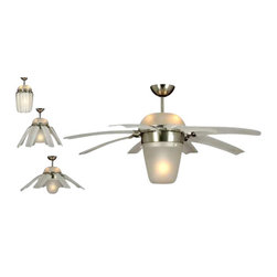 Montecarlo - Monte Carlo Airlift Ceiling Fan in Brushed Steel - Monte Carlo Airlift Model 8ATR44BSD in Brushed Steel with White Finished Blades. Included Light Fixture for Air Lift Fan.