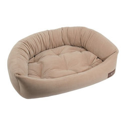 Jax & Bones - Jax & Bones Reptile Velour Napper Bed Latte X-Large - An original design by Jax and Bones! An oval bolster bed that is perfect for dogs that like to lean, curl, or cuddle. Fabric is made from a high performance micro-denier plush velvet with 2 removable inserts for easy care. Offered in 4 sizes and inevitably the softest and favorite dog bed your pet will ever have!
