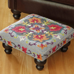 Suzani Footstool - I think this Suzani footstool is so cute and would be perfect in a beach-inspired bohemian pad.
