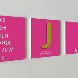"""Nursery Code - Nursery wall decor set of 3 standouts- Name initial and date of birth- Alphabet, - This listing is for set of three prints mounted professionally on 1"""" THICK STANDOUT."""