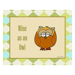 Oh How Cute Kids by Serena Bowman - Wise as an Owl, Ready To Hang Canvas Kid's Wall Decor, 24 X 30 - What's wiser than an Owl?  Nuttin!