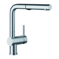 "Blanco - Blanco 441404 Satin Nickel Linus Linus Kitchen Faucet with Pullout - Linus Kitchen Faucet with Pullout Dual Spray and Metal Lever HandleBLANCOÂ's mission is to be the brand of choice in the luxury kitchen segment; offering our customers the highest quality and most innovative product with unsurpassed service.Blanco 441404 Features:Button Activated Dual Spray.Ceramic Disc cartridge.2.2 GPM Flow Rate.Pullout single function spray.Classic contemporary design that makes every kitchen look professional.Installation in a 1-3/8"" hole.Limited Lifetime Warranty.Low Lead Compliant.Height: 11"".Spout Reach: 8.5"".Spout Height: 9.75""."