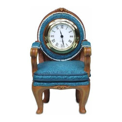 WL - 2.5 Inch Old Antique Peacock Blue Arm Chair Shaped As a Mini Clock - This gorgeous 2.5 Inch Old Antique Peacock Blue Arm Chair Shaped As a Mini Clock has the finest details and highest quality you will find anywhere! 2.5 Inch Old Antique Peacock Blue Arm Chair Shaped As a Mini Clock is truly remarkable.
