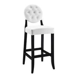 """LexMod - Button Bar Stool in White - Button Bar Stool in White - Create your universe with an elevated opaque version of the popular Casper Chair. While transparency has its place, the opacity of the Buttoned Casper Bar Stool delivers spatial distinction. With its padded black vinyl seat and back, turn your bar or kitchen into an event horizon of outwardly emitted light and joy. Set Includes: One - Buttoned Casper Bar Stool Simple Modern Dining Chair, Birch Wood Frame, Dense Foam Padding for Comfort, Seven Symmetrically Placed Buttons Overall Product Dimensions: 23.5""""L x 17""""W x 47""""H Seat Height: 29""""HBACKrest Height: 19""""H - Mid Century Modern Furniture."""