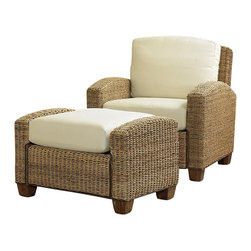 Home Styles - Home Styles Cabana Banana Honey Chair and Ottoman - Home Styles - Club Chairs with Ottomans - 5401100 - Home Styles Cabana Banana Chair and Ottoman are made of all natural woven banana leaves in a Honey finish. This eco-friendly collection features frames and fabric that are made of 100% sustainable natural materials. Our frames are hand woven of natural banana leaves with no harmful additives. The furniture legs are made of natural renewable wood. Our cushion covers are Cotton Twill in Ecru color. Cleaning instructions for fabric - Use any commercial upholstery cleaner. Chair Size: 36w 29.75d 31.75h high Ottoman Size: 32w 22d 20.5h